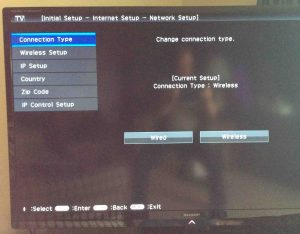 Picture of the Sharp Aquos Smart TV, displaying the Network Setup screen.