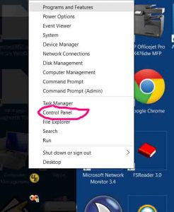 Picture of the Windows 10 Start Button Context Menu with Control Panel item circled in pink.
