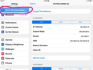Picture of the iOS Settings WiFi Page with WiFi option selected and circled in pink.