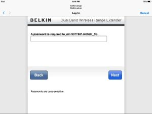 Picture of the Belkin F9K1106v1 Wireless Range Extender, displaying the Network Password prompt screen for 5 Ghz. wireless network.