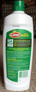 Picture of Comet Scratch Free Soft Cleanser with Bleach, 24 ounce bottle, back view.