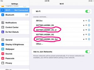 Picture of the extended network Wi-Fi SSIDs, established by the Belkin Wireless Range Extender. as seen on an iPad Air.