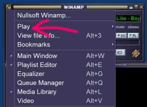 Picture of the Winamp Play menu item, pointed to by the pink arrow. Winamp player free download.