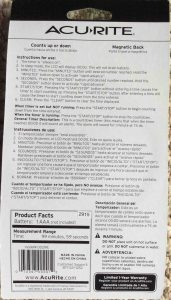 Picture of the Acurite Digital Kitchen Timer Model 00291E, package back view.