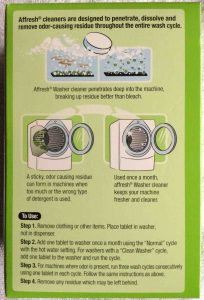 Affresh laundry machine cleaner review. Picture of Affresh® laundry machine cleaner, 7 ounce box, bottom view.