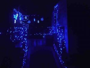 Picture of Blue LED Xmas Lights Outdoors. house south porch wheelchair ramp.