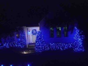 Outdoor Christmas light decorating ideas pictures. LED Christmas lights outdoors, oue house front view, showing miniature lights on bushes and door wreath, as well as some C9 LEDs on the front fence.