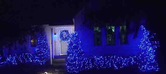 Blue LED Holiday Lights Outdoors, house front view, showing miniature lights on bushes and door wreath, as well as a few C9 LEDs on the front fence.