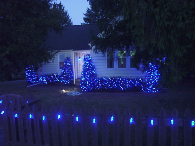picture of blue led xmas lights outdoors our home picket fence with c9 led lamps
