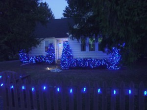 Picture of our LED Christmas lights outdoors, picket fence with C9 weatherproof LED lamps decorating it.