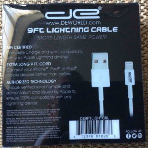 Picture of the DE 9 Ft. Lightning to USB Cable, original packaging back view.