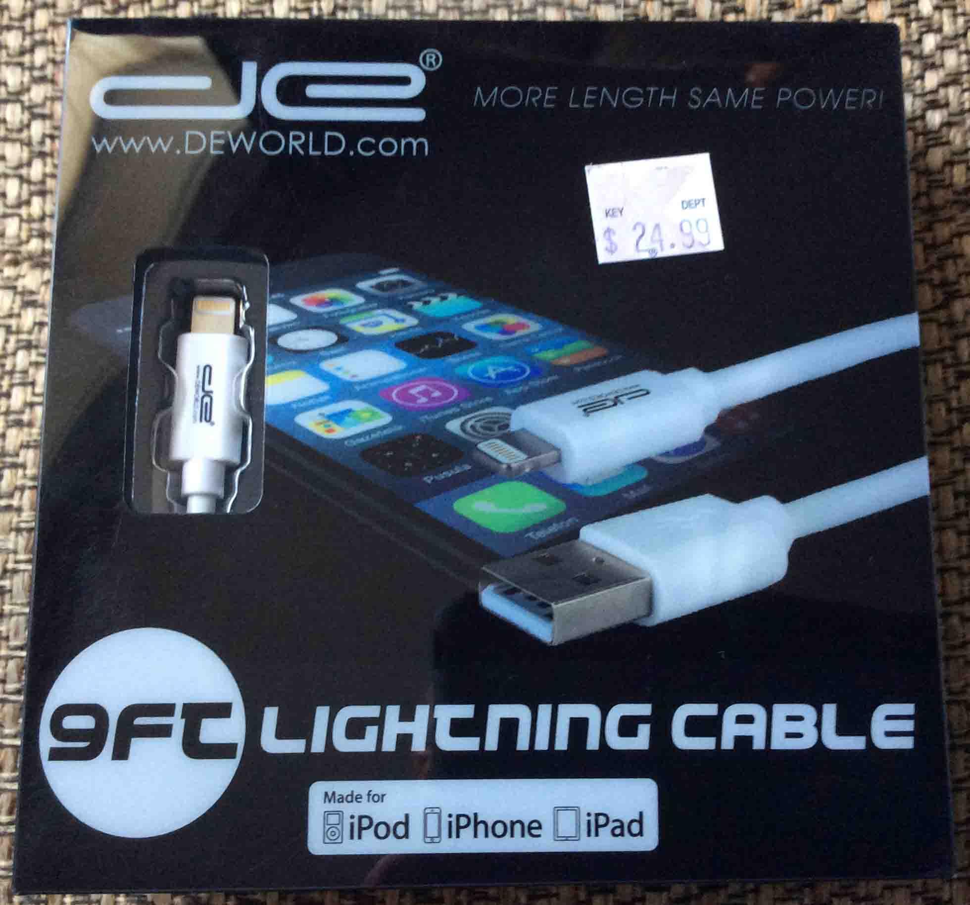 best service 14d7b 9d4b3 DE Lightning Charging Cable Review, 9 Ft, Sync Too | Tom's Tek Stop