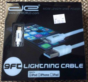 Picture of the DE 9 Ft. lightning to USB charging cable, original packaging front view.