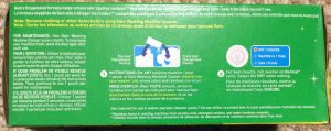 Picture of Gain® Washing Machine Cleaner, 4 pouch box, bottom view, showing usage instructions and cautions.