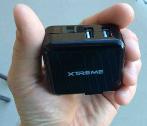 Picture of the Xtreme Dual Port USB Home Charger LFS0502100D-A8S, logo and port view.