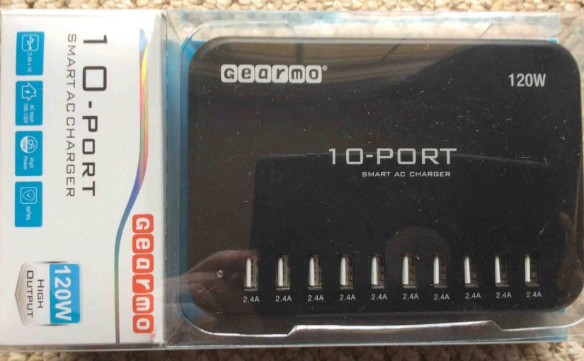 Gearmo® 10 Port Smart AC Charger, Model ICS-10P-HO, package front view.