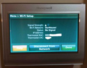 Picture of the Honeywell RTH9580WF smart t-stat, displaying the WiFi Setup screen.