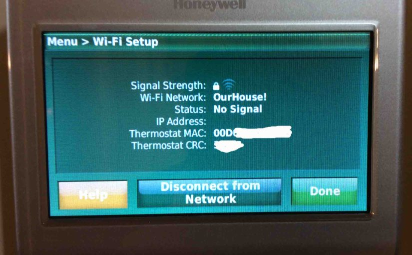 Picture of the Honeywell RTH9580WF Smart Thermostat, displaying the WiFi Setup screen.