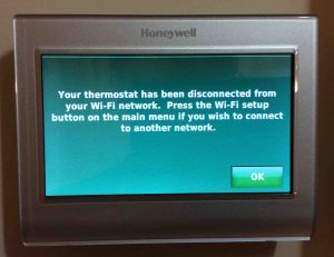 Picture of the Honeywell RTH9580WF WiFi Smart Thermostat, displaying the Network Disconnected screen.