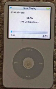 Picture of the iPod Classic Video Player, operating normally, front view.