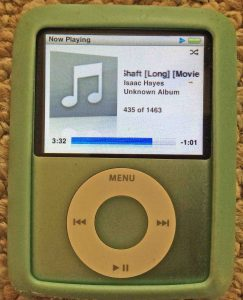 Picture of the iPod Nano 3rd Gen portable player, playing file normally, after reset.
