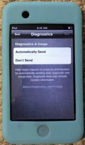 Picture of the iPod Touch portable media player, displaying the Diagnostics handling option screen.