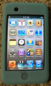 Picture of the iPod Touch portable media player, displaying its home screen.