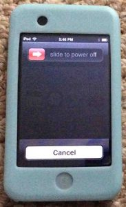 Picture of the Slide to Power Off Screen on the iPod Touch player.
