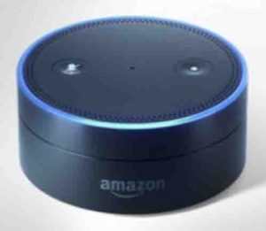 Picture of the Amazon Echo Dot 1st generation speaker, front top view.