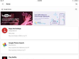Picture of the Google Home app Home screen. Pandora Setup on Google Home.