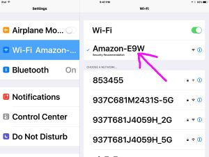 Picture of the iOS Settings WiFi Screen, showing successful connection with the AMAZON-XXX network.