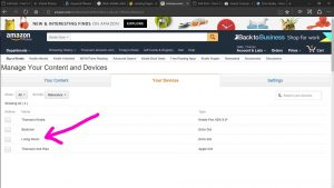 Picture of the Amazon web site, displaying the -Manage Content and Devices- page, with an Alexa device highlighted.