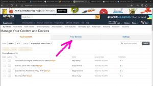 Picture of the Amazon web site, displaying the -Manage Your Content and Devices- page, with the Devices tab highlighted.