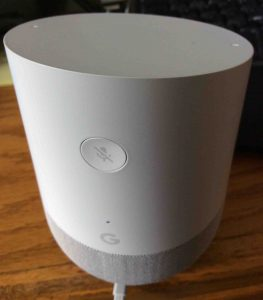 Picture of the Google Home speaker rear view, showing the Mic Mute button (near top) and pilot lamp hole (near bottom, above the G logo).