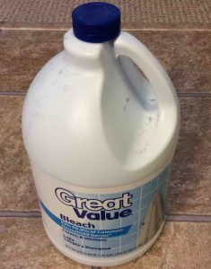 Picture of a bottle of Great Value brand bleach, front view. How to Clean Washing Machine with Bleach.