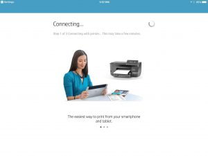 Picture of the HP AiO Remote app on iOS, showing the -Connecting To Wi-Fi- screen.