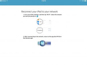 Picture of the HP AiO Remote app on iOS, showing the -Reconnect Your iPad To Your Network- screen.