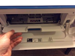 Picture of the HP Desk Jet 3630 printer, front view, showing inner access door being opened.
