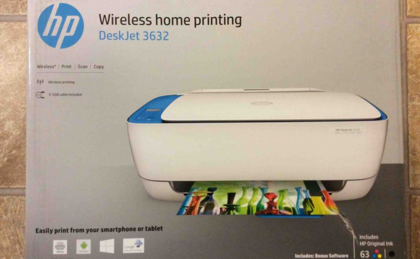 Picture of the HP DeskJet printer 3632 in box, showing the Box front view.