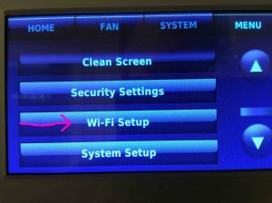 Picture of a Honeywell Wi-Fi touchscreen thermostat, with the Wi-Fi setup option highlighted.