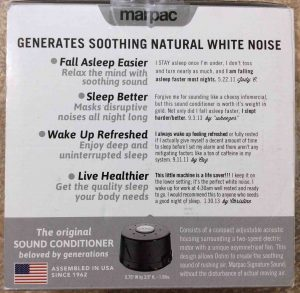 Picture of the Marpac Dohm Serious Sleep SS white noise machine, black version, original box bottom.