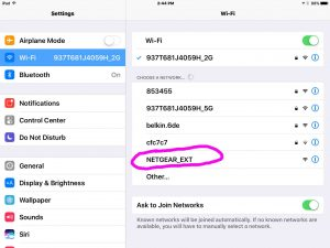 Picture of the NETGEAR_EXT WiFi Network as Seen on an iPad Air, that the EX3700 range extender establishes when in Setup mode.