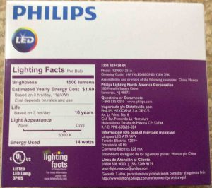 Picture of the Philips LED 100w A19 daylight white light bulb, 2-pack, back view.