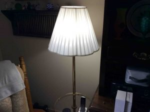 Picture of the Philips LED 75w A19 daylight white light bulb, operating in a typical living room lamp.