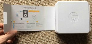 Picture of the Google Chromecast Audio receiver package, flap open, showing the -Getting Started- instructions.