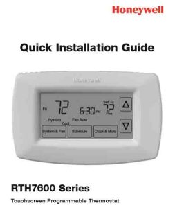 Picture of the Honeywell RTH7600 7-day programmable thermostat quick installation manual cover page.