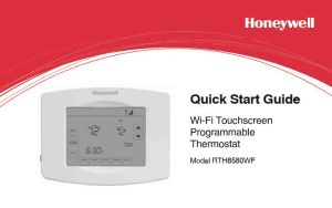 Picture of the Honeywell RTH8580WF Wi-Fi thermostat Quick Start Guide cover page.