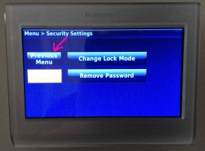 Picture of the Honeywell RTH9580WF Smart Thermostat, Displaying its -Security Settings- Screen, with the -Previous Menu- Button Highlighted.