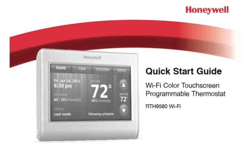 Picture of the Honeywell RTH9580WF thermostat Quick Start Guide, cover page.