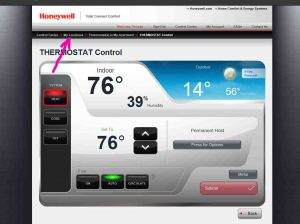 Picture of the Honeywell Total Connect Comfort web site, displaying the -Thermostat Control- screen, with the -My Locations- link highlighted.
